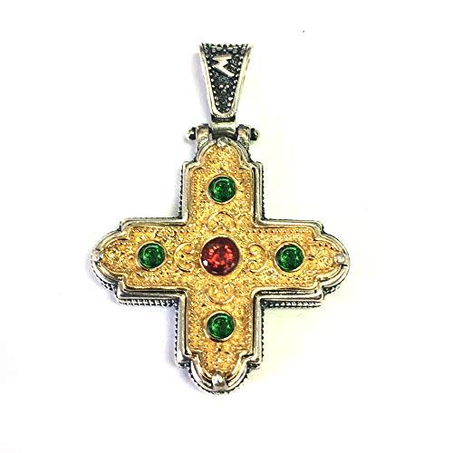 Sterling Silber 18Karat Gold Overlay Byzantinischer Stil Kreuz Anhänger - Overlay Kreuz