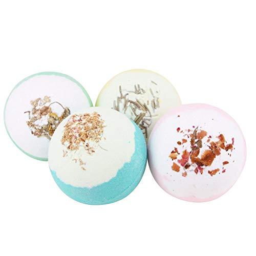WXGY Beauty Körperpflege Bad Bomben Geschenkset, 4 Badekugel Geschenkbox Tropische Blume ätherisches Öl Set Box Multi Blasen Badesalz Bälle Badzubehör