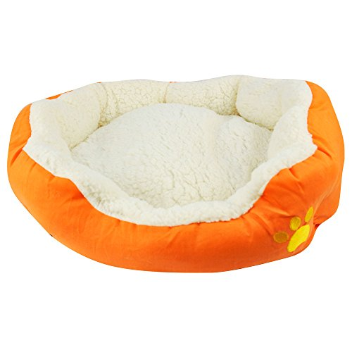 Puregadgets-Soft-Comfy-Fabric-Washable-Dog-Pet-Cat-Warm-Basket-Bed-with-Fleece-Lining-Orange-Large