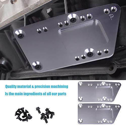 knowledgi 2Pcs Motor Swap Bracket Plate, Für SBC LS Conversion Motor Mount Einstellbare Platte LS1 Silber