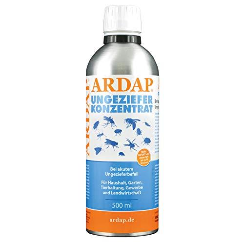 ARDAP Ungeziefer Konzentrat 500ml - Zur Herstellung von bis zu 50 Liter Ungezieferspray gegen Fliegen, Stechfliegen, Motten, Mücken, Wespen, Silberfische, Bettwanzen, etc.
