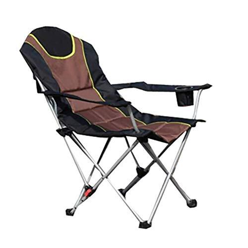 Zichen Klappstuhl Camping Stuhl im Freien Liegestuhl, Klappstuhl mit Armlehnen, Perfekt for zu Hause/Patio/Terrassendielen/Urlaub/Strand/Garten/Rasen (Color : Marrone)