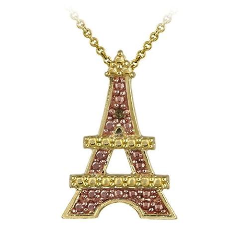 18k Two-Tone Rosen Gold über Silber Champagner Diamant akzent Eiffel