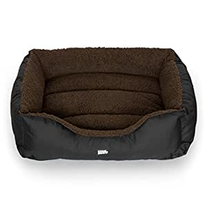 Luxury Easy-Clean Washable Dog Bed Small | 3 Sizes | Brown | Snugpaws | Rectangular/Square Bolster/Nest Pet Bed with Removable Covers