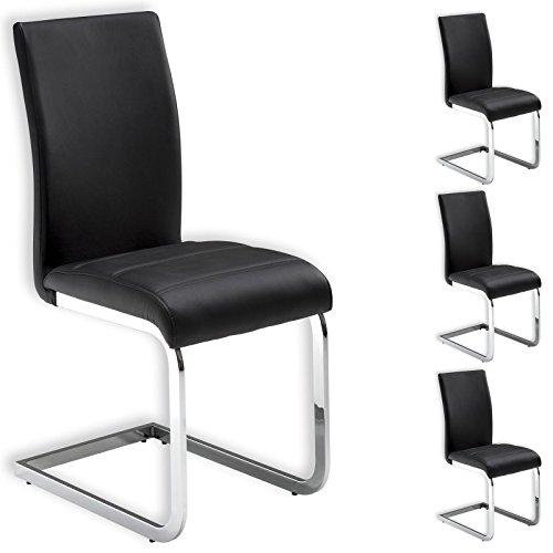 IDIMEX Stuhl Schwingstuhl Esszimmerstuhl Sitzgelegenheit LETICIA, schwarz, im 4er Pack