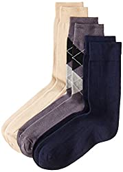 Peter England Mens Socks (Pack of 3) (PXT1955_Beige,Navy and Black_25/37cm)
