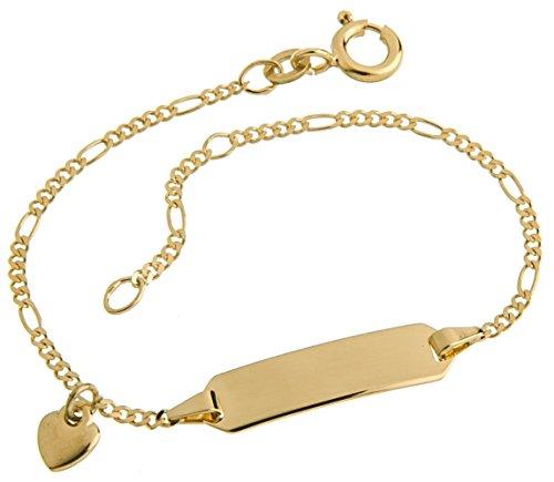 Silberketten-Store Baby- / Kinder-ID-Armband, 333 Gold, inkl. Gravur, Länge 12cm