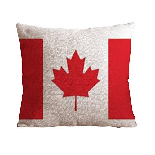 Jastore? Baumwolle Leinen Leaf Sofa Stuhl Kissenbezüge dekorativer Überwurf-Kissenbezug, Kissenbezüge 18-by-18-inches, Acrylbeschichtete Baumwolle, Maple Leaf Flag, S