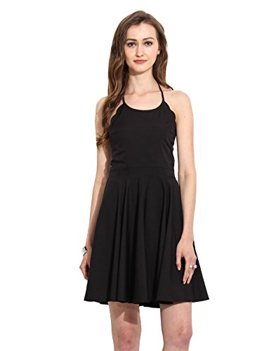 Black Polyester Skater Dress Large