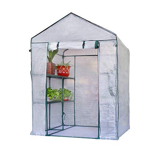 XH Gardenlife Gewächshaus mit 8 Ablagen 140x140x200cm HxBxT, 3 Etagen Foliengewächshaus f. Balkon...