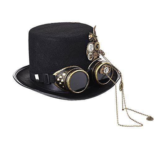 Style Jazz Kostüm Dance - FXXUK Viktorianischer gotischer Spitzenhut mit Zahnrad-Ketten Steampunk Unisexdeckel-Kopfbedeckungs-Zusatz für Halloween-Kostüm-Bühnenshow-Tanzshow
