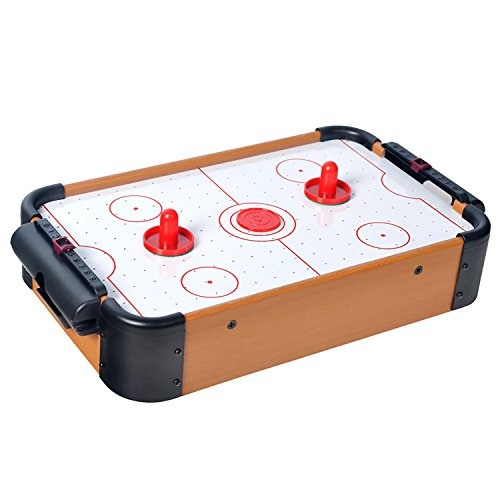 WIN.MAX Mini Air Hockey Tisch aus Holz MDF Konstruktion dauerhaft viele lustige Spiel für Geburtstag Urlaub -