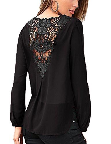 Junshan Damen Bluse Chiffon Rücken-Breite Spitze Nähen Langarm Oberteile Elegante Mode unterschlagen Volltonfarbe Hundert-Lap Tops Bluse (44, Schwarz) (Schwarz-breite - Spitze-top)