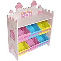 Prinzessinnen Kinderregal mit 6 Boxen & stylisches Prinzessin Kinder Aufbewahrungsregal in Rosa – Kinder Wandregal & Kindermöbel mit Aufbewahrungsboxen zur Spielzeugaufbewahrung