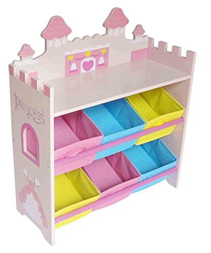 Kiddi style scaffale porta giocattoli a tema castello della principessa con 6 scatole in legno per bambini