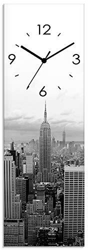 Artland Wanduhr ohne Tickgeräusche Glasuhr mit Motiv Design Funkuhr lautlos Größe: 20x60 cm Skyline in New York schwarz-weiß S7MH