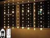 Lichtervorhang Weihnachten LED für Innen Fenster Sterne Lichterkette mit Timer Fernbedienung 24V Lichterketten Warmweiß 8 Modi Weihnachtsbeleuchtung Außen Dekoration IP44 2M x1,5M
