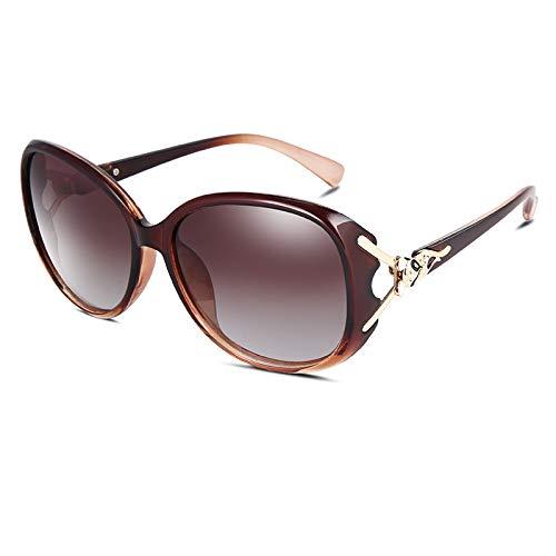 xinrongqu Gafas De Sol - Señoras De La Moda Gafas De Sol Polarizadas Gafas De Sol Marco De Té Té Progresivo