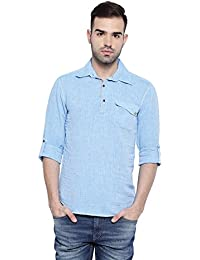 SHOWOFF Mens Blue Stripes Casual Shirts