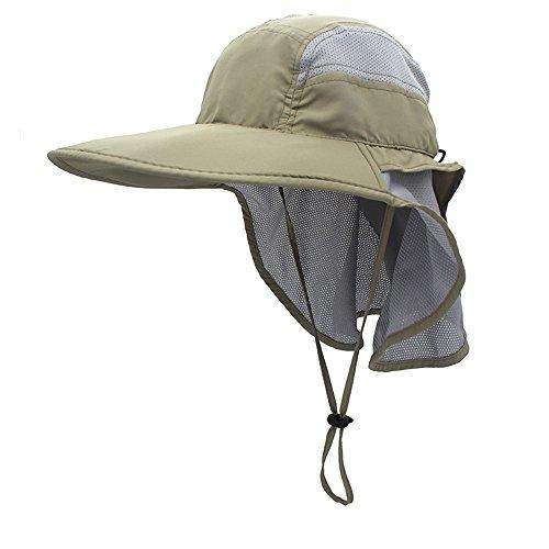 gg st Sonnenhut Herren Damen UPF 50+ Outdoor UV Summer Cap mit Nackenschutz Hiking Fischerhut Strand Faltbar Safari Buschhüte Mesh Hat, Hellgrau