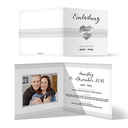 50 x Hochzeitseinladungen Silberhochzeit silberne Hochzeit Einladung individuell - Silberherz