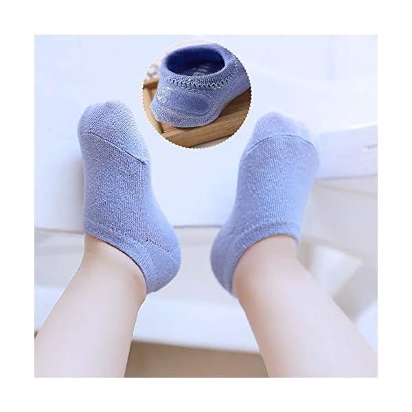 QH-shop 3 Pares Rodilleras para Bebés y 3 Pares Calcetines con Silicona Antisdeslizantes Almohadillas para Niño Rodilla… 4