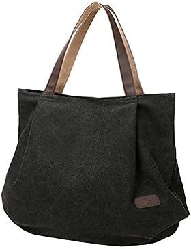 PB-SOAR Damen XXL Vintage Canvas Shopper Schultertasche Handtasche Beuteltasche Freizeittasche