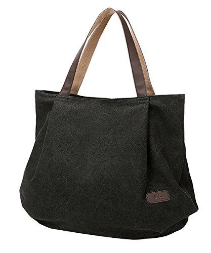 PB-SOAR Damen XXL Vintage Canvas Shopper Schultertasche Handtasche Beuteltasche Freizeittasche (Schwarz) -