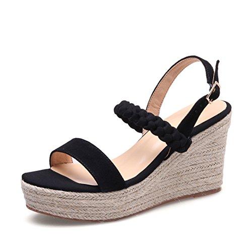 Estate zeppa sandali/Una parola fibbia fondo spessa esposta a piedi sandali A