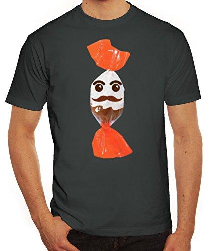Fasching Verkleidung T-Shirt Gruppen & Paar Kostüm Schokoladenmännchen Kostüm, Größe: S,Darkgrey (Coole Ideen Gruppe Halloween Kostüme)