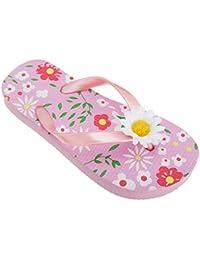 FLOSO - Sandalias / chanclas con diseño floral con margarita 3D para niñas