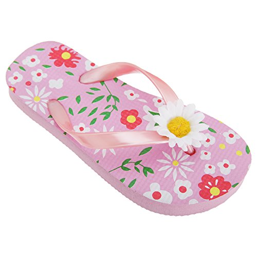 FLOSO® Childrens Girls Floral Toe Post Flip Flops With 3D Daisy Strap (2-3 UK) (Pink)