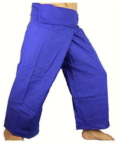 Fisherman Thaï Pantalon Pêcheur Homme Yoga Taille unique Yoga tissu épais bleu