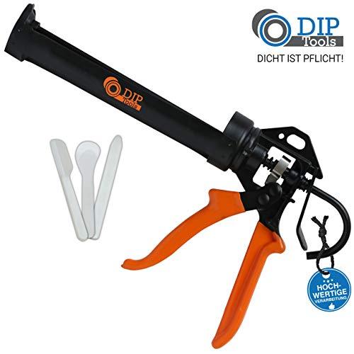 DIP-Tools PRESSFIX Profesional Pistola Silicona con Relación de Potencia 16:1 para Todos los Cartuchos de 310 ml - incl. Juego de Alisadores de Juntas (Blanco)