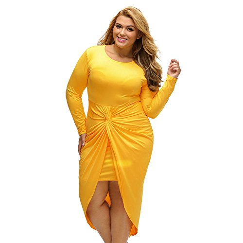 PU&PU Femmes Plus Size Formal / Travail / Parti Slit Mini Dress, col rond manches longues yellow