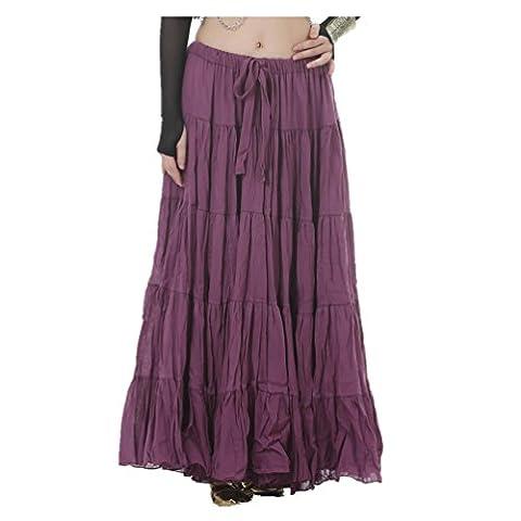 Seawhisper Belly Dance 16 Yard Bohemia Skirt, Swing Skirt, Tiered Maxi Tribal Gypsy Skirt Flared Long Retro Vintage Beach Summer Linen Dress Costume with Gold Coins Belt Waist Chain (dark purple)