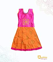 Indian Traditional Ethnic Pink and Orange Pattu Pavadai with centre Flower Embroidery and buttas - 19010