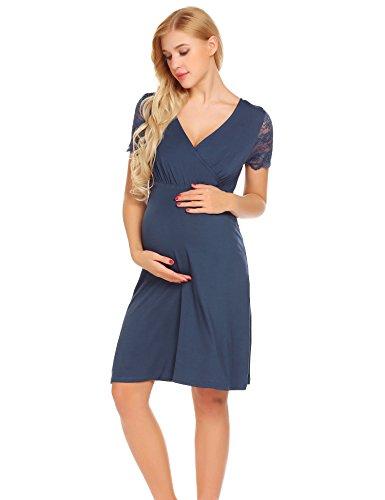 Unibelle vestito da maternità donna abito di maternità abito in pizzo abito di gravidanza scollo a v a maniche corte elegante navy blu m