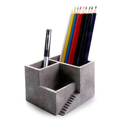Comsaf portapenne in cemento organizer da tavolo grigio singolo pacchetto