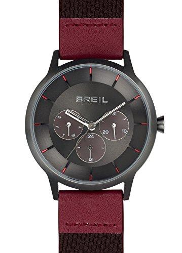 Breil - orologio da uomo twenty20 - cronografo con quadrante monocolore marrone - cassa in acciaio 40 mm - cinturino da polso in pelle di vitello rosso - movimento al quarzo