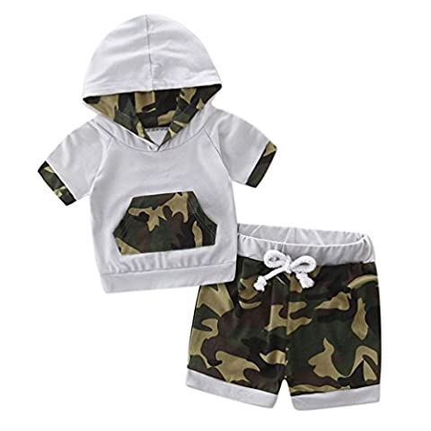 VENMO Kleinkind Baby Kurzarm Kapuzenpullover Top + kurze Hose Outfits Set (Größe: 12M, Weiß)