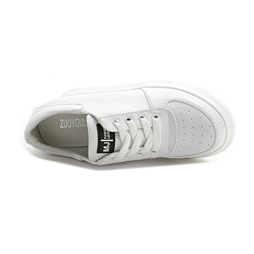 Damen Sportliche Plateau Sneaker-Wedges Helle Sohle Sneakers Keilabsatz Weiß