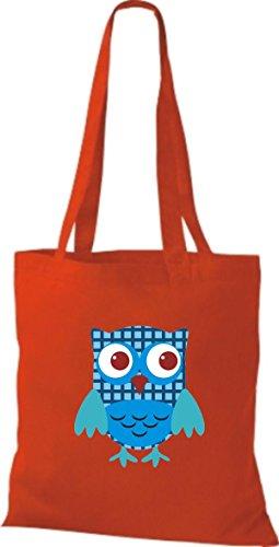 Farbe Retro rot Bunte Punkte Tragetasche Owl Stoffbeutel Eule ShirtInStyle diverse mit Jute niedliche q7pwPz