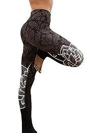 Nibesser Femme Pantalon Imprimee Floral Slim Legging Elasticite Elevee Respirant Skinny Sechage Rapide pour Yoga Pilate