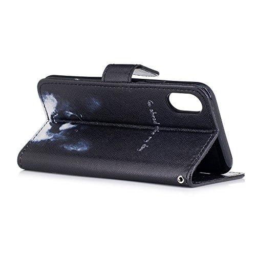Custodia iphone X Cover ,COZY HUT Flip Caso in Pelle Premium Portafoglio Custodia per iphone X, Retro Animali di cartone animato Modello Design Con Cinturino da Polso Magnetico Snap-on Book style Inte Cane Keke