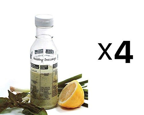 """Norpro Glass Salad Dressing Shaker Mixer Bottle Cruet w/ Recipes 8.25"""" (4-Pack)"""