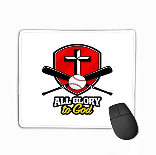 Mouse Pad Athletic Christian Logo golden Shield Baseball bat Emblem Competition Ministry rence Camp Rectangle Rubber Mousepad 11.81 X 9.84 Inch -