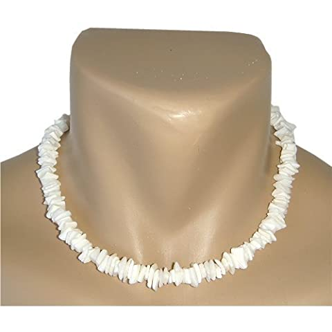 18 Hawaii Shell Necklace White Chips with Hawaiian Koa Wood Bead Accents Puka Surfer Beach Choker by Zero Gravity Hawaii