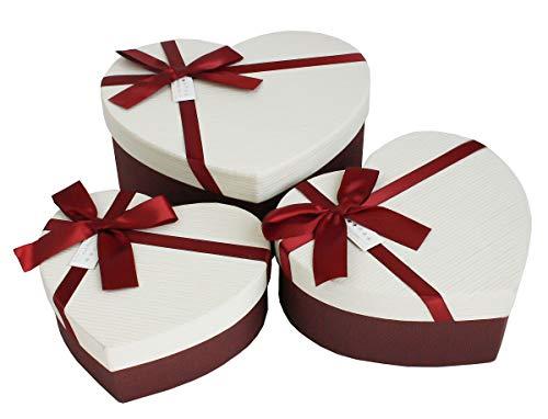 Emartbuy Set von 3 Starrer Luxus Herzform Präsentation Geschenkbox,  Burgandy Box mit Gestreift Cremefarben Deckel 9249fd0777b