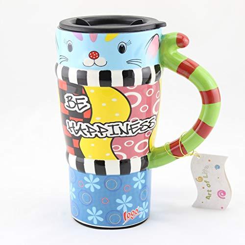 CJH Tasse De Chat Peint Tasse De Mignon Avec Couvercle Avec Une Cuillère Tasse À Café En Céramique Couple Créatif Tasse E